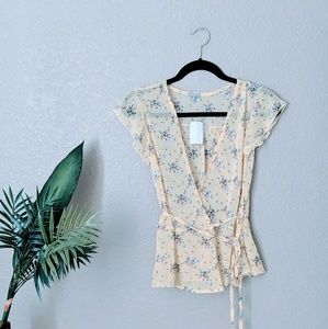 Charlotte Russe Yellow Floral Wrap Top Sz XS